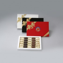 Coffret assortiment 25 dominos nougat tendre Premium et enrobé chocolat 220g
